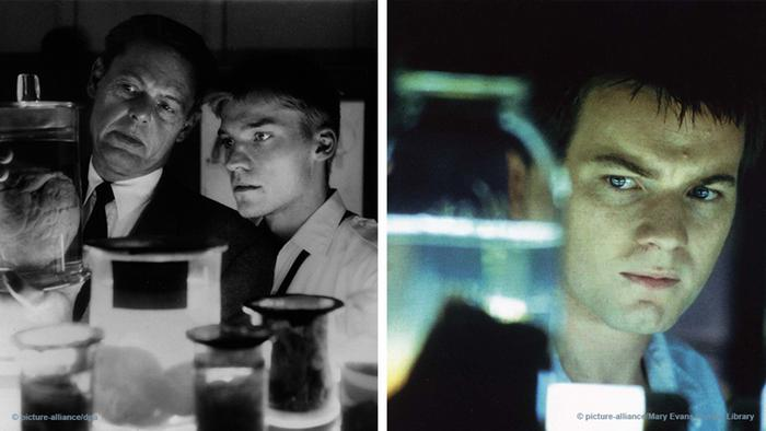 Two film stills from Nightwatch — Danish and US versions