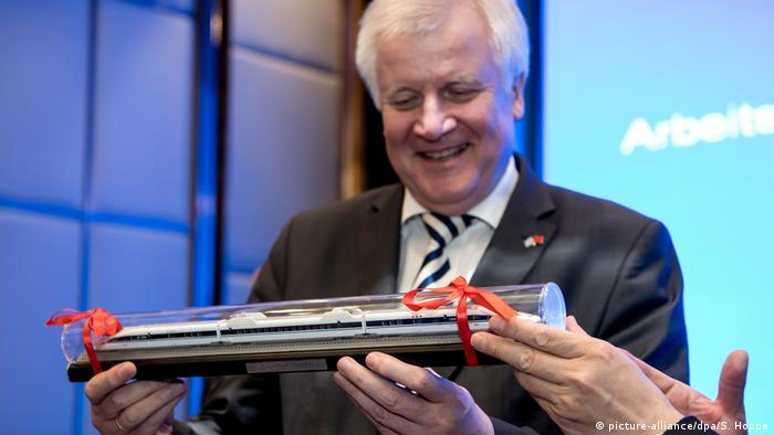 Horst Seehofer with a model train.