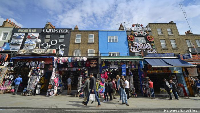 Picture of shops and stalls in Camden Town, London