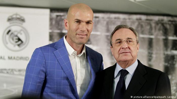 Zinedine Zidane with Florentino Perez