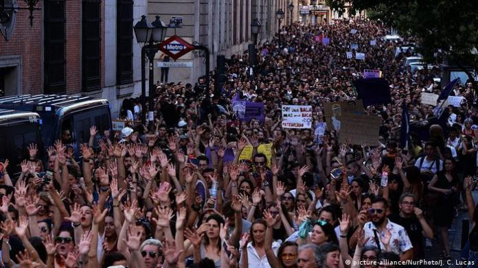 protesters with hands up in Spain