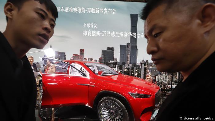 Un Mercedes-Maybach en una feria del automóvil en Pekín.