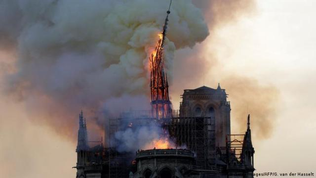 Notre Dame cathedral, fire and smoke