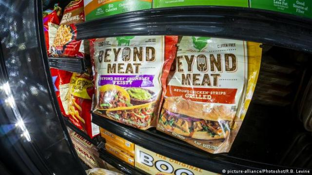 Packages of Beyond Meat brand in a supermarket freezer