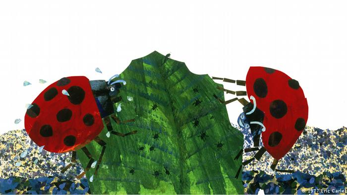 Illustration from Eric Carle's The Grouchy Ladybug: two ladybugs chomping on a leaf (1977 Eric Carle)