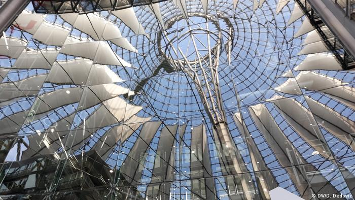The metal and glass ceiling of the Sony Center.