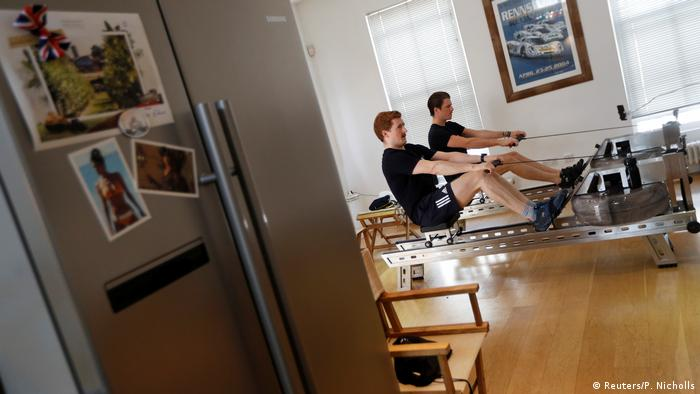 England London |  Harry Rihards and Charlie Harbord rowed the Thames on exercise bikes to raise funds for the NHS