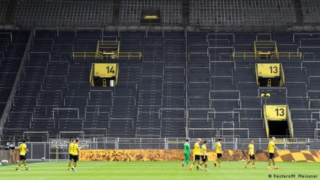 The stands are empty during Borussia Dortmund vs. Schalke