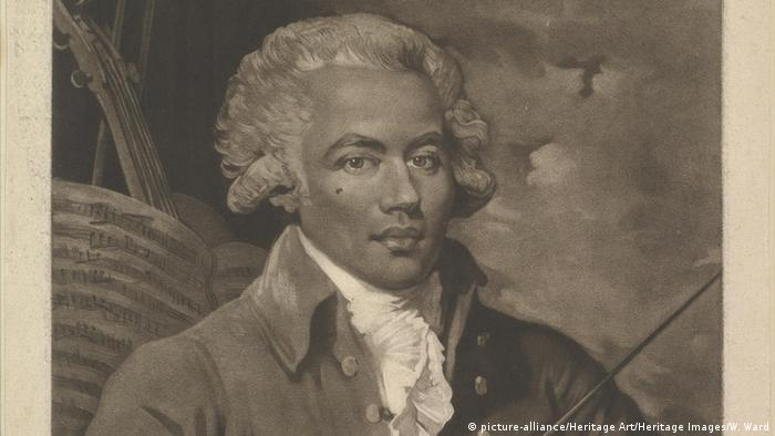 Elegantly clad man with dark skin, a mole on his cheek and a white wig (picture-alliance/Heritage Art/Heritage Images/W. Ward)