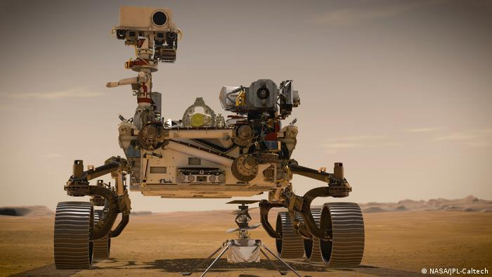 El vehículo explorador de Mars 2020, Perseverance, con el primer helicóptero marciano integrado, Ingenuity