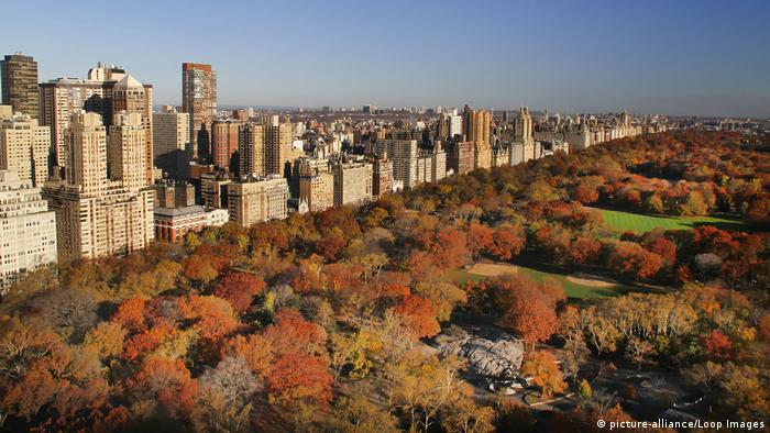 A view of Hyde Park with New York City in the background