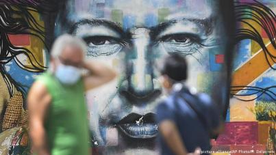 Venezuela Corona-Pandemie   Mural Chavez