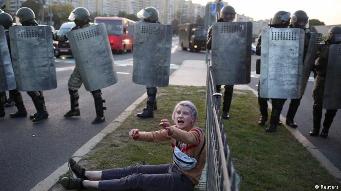 A pro-democracy protester confronting Lukashenko's security forces in Belarus in September 2020