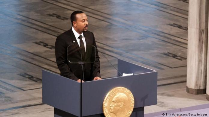 Abiy Ahmed speaking after being awarded the Nobel Peace Prize