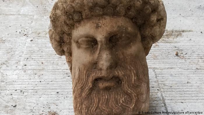 The marble head of the Greek god, Hermes