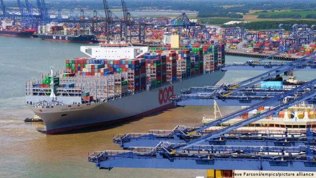 An OOCL container ship at the Port of Felixstowe in England