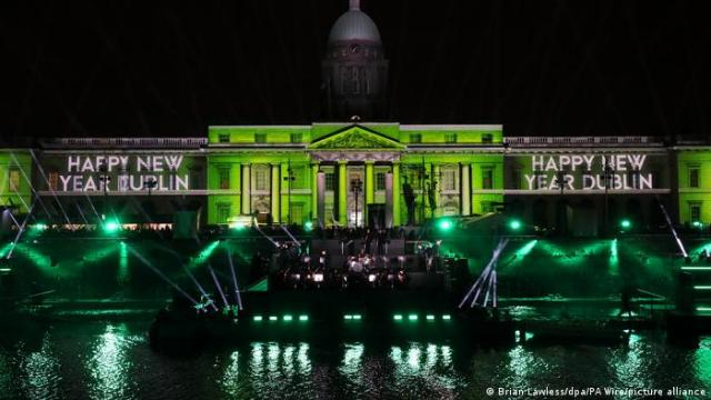 A laser show on the Custom House in Dublin