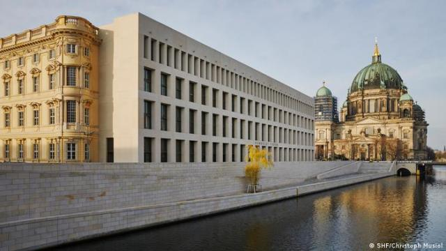 Exterior view of the Humboldt Forum and river in Berlin