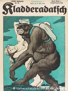 caricature of a black 'monster' wearing a soldier's bag and cap takes off with a white woman