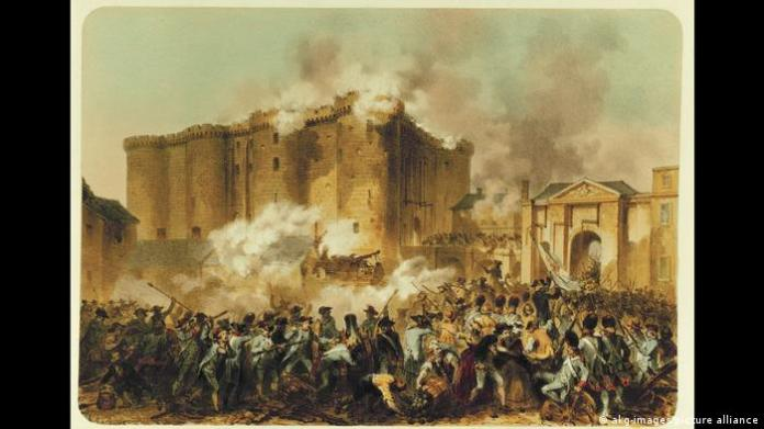 A painting shows men shooting at a building