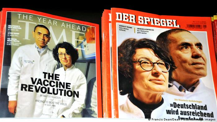 Time Magazine and Spiegel magazine covers featuring Biontech founders