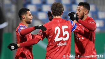 Serge Gnabry celebrates his goal