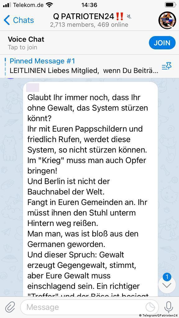 Screenshot from the Telegram group QPatrioten24