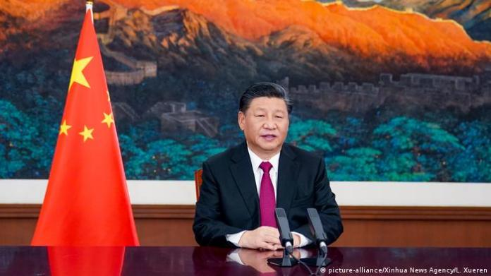 Chinese President Xi Jinping during his speech at the 2021 Davos Economic Conference via video link