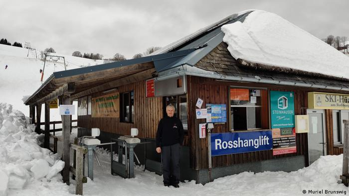 Ski lift operator Robert Lorenz outside his business in Germany's Black Forest