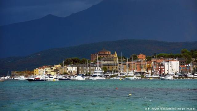 Saint Florent in Corsica viewed over the water