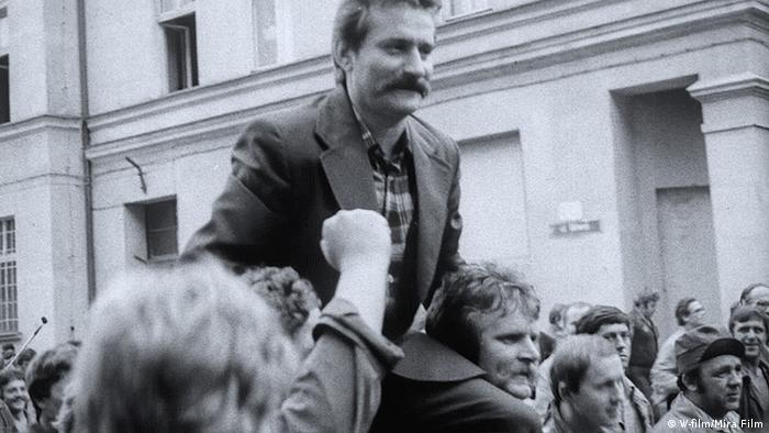 Lech Walesa, strike leader of the Solidary movement, hoisted on the shoulders of protestors in Poland in 1980.