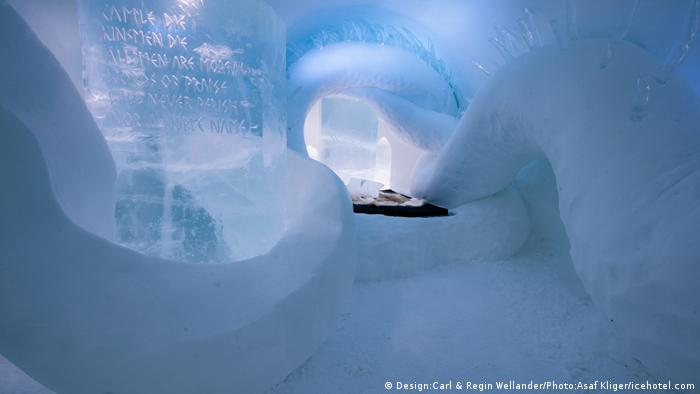 View into a suite at the Icehotel Jukkasjärvi in Sweden
