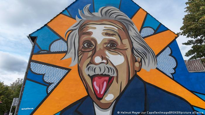 A mural in Germany featuring Einstein with his tongue sticking out.