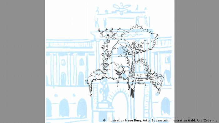 A blue drawing of the Hofburg palace with trees sketched in black stop it