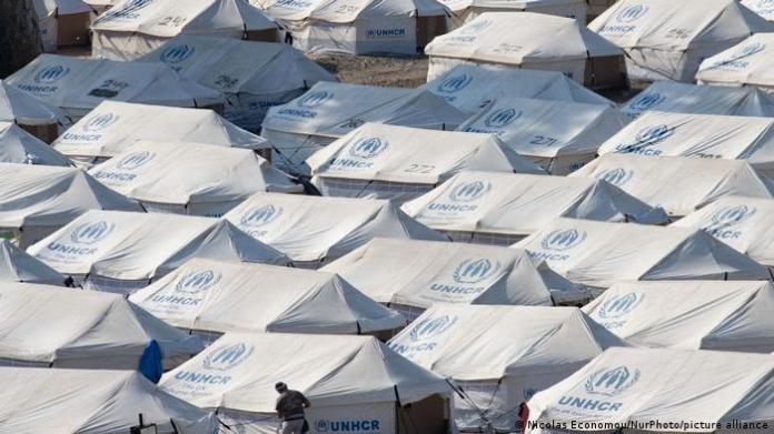 Mavrovouni camp, many white tents