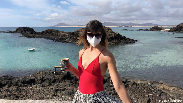 The author, Sarah Hucal, wearing a face mask during a day trip to Isla del Lobos off the coast of Corralejo, Fuerteventura