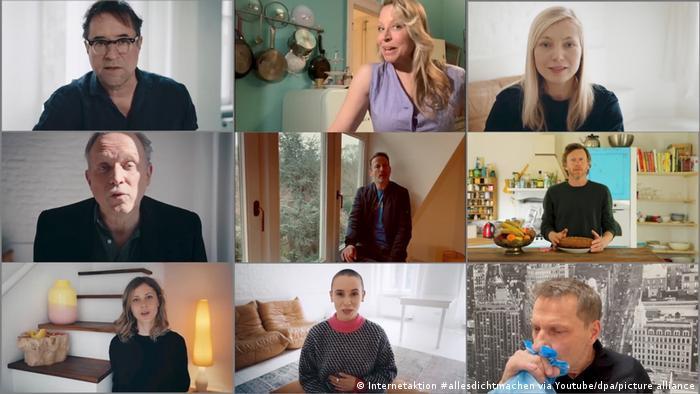 different stills from the #allesdichtmachen videos, German actors