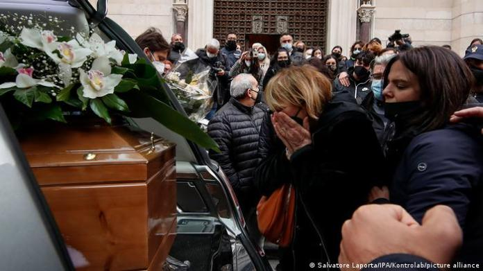 Women crying at funeral