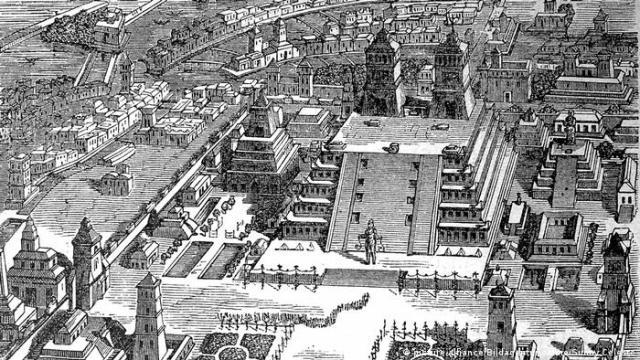 El complejo de templos de Tenochtitlán, capital del Imperio Azteca desde el siglo XIV al XVI.
