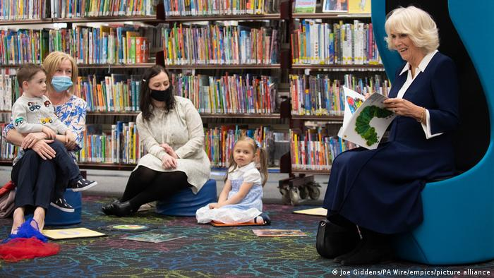 Duchess of Cornwall reading 'The Very Hungry Caterpillar' to children on a visit to Coventry City Central Library, May 25, 2021.