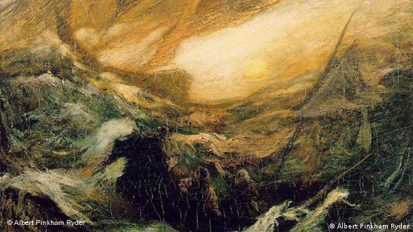 The Flying Dutchman as painted by artist Albert Pinkham Ryder.