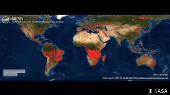 Δορυφορική εικόνα των πυρκαγιών από τη ΝΑSA