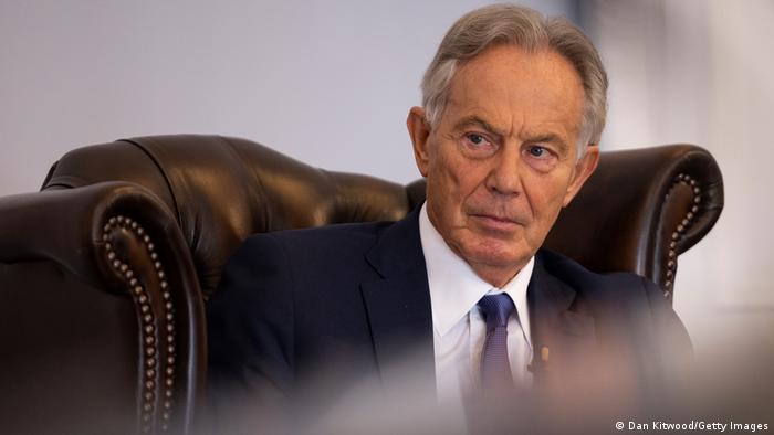 Portrait of Tony Blair in an armchair
