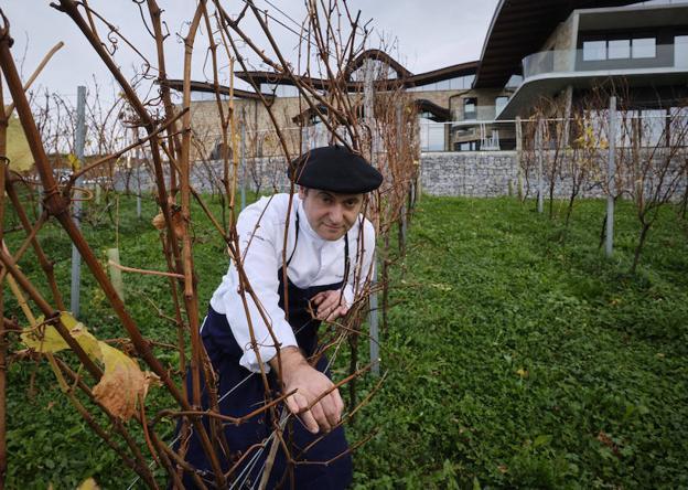 Roberto Ruiz posa entre viñas de txakoli./José Usoz