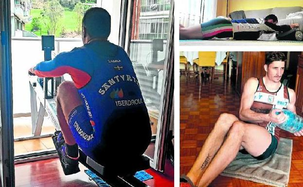 Santurtzi rower and coach, Iker Zabala, trains on the ergometer on the balcony of his house. On the right, above, an Urdaibai rower uses the wheels of the vacuum cleaner to perform one of the exercises for the day. Below, Zierbena's Galician bogador, Jaime de la Haz, exercises in the living room with a five-liter drum of water.