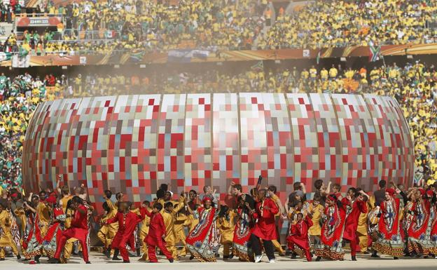 Opening ceremony at the Soccer City Stadium in Johannesburg.
