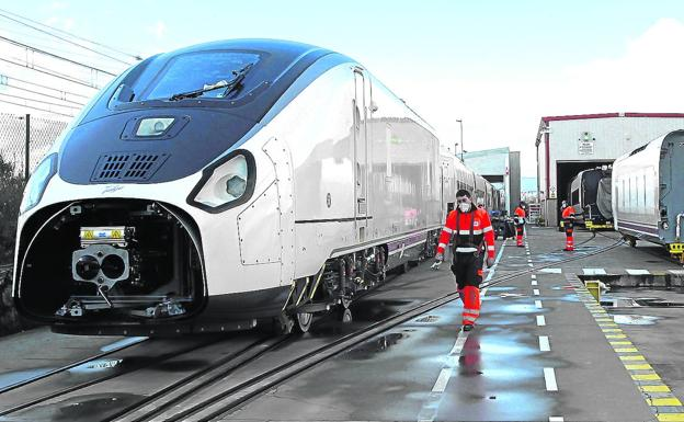 Operators work at the Talgo facilities in the Alava town of Ribabellosa.