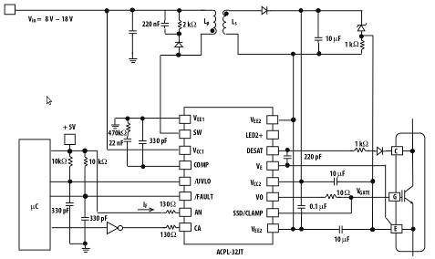 Automotive IGBT driver has built-in secondary PSU