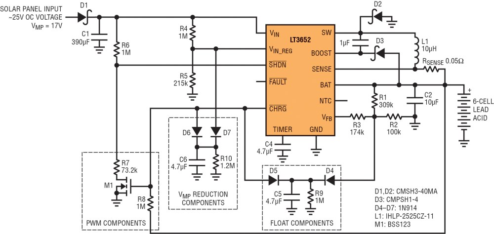 medium resolution of 17v vmp panel to 6 cell 2a lead acid charger with low current vmp