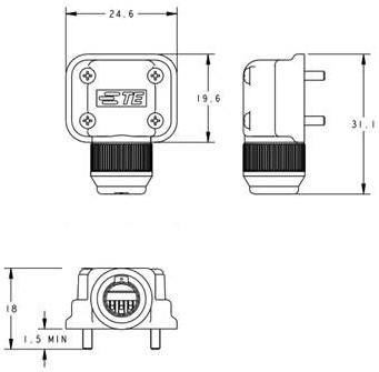 Compact connectors for servo motors